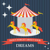 Illustration with cartoon horses on dreams carousel for use in design for card, invitation, poster, banner, placard or billboard cover — Stock Vector