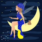 Яркие цветные иллюстрации шаржа с немного прекрасная фея, сидя на Луне в небе с звездами — Cтоковый вектор