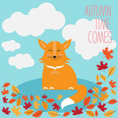 Happy fox and autumn leaves — Stock Vector