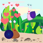 Fall in love snail — Stock Vector