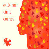 Bright colored autumn vector background with silhouette of a woman — Stock vektor