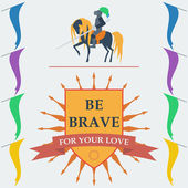 Brave knight on the horse and slogan in trendy flat style — Stock Vector