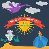 Brave princess and dragon — Stock Vector