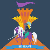 Brave knight on the horse and slogan in trendy flat style for use in design for card, invitation, poster, banner, placard or billboard cover — Stock Vector