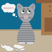 Иллюстрация с кошкой и сломанная чашка — Cтоковый вектор
