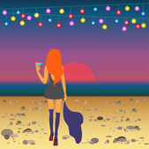 Ginger girl on the beach meets the sunrise after party — Stock Vector