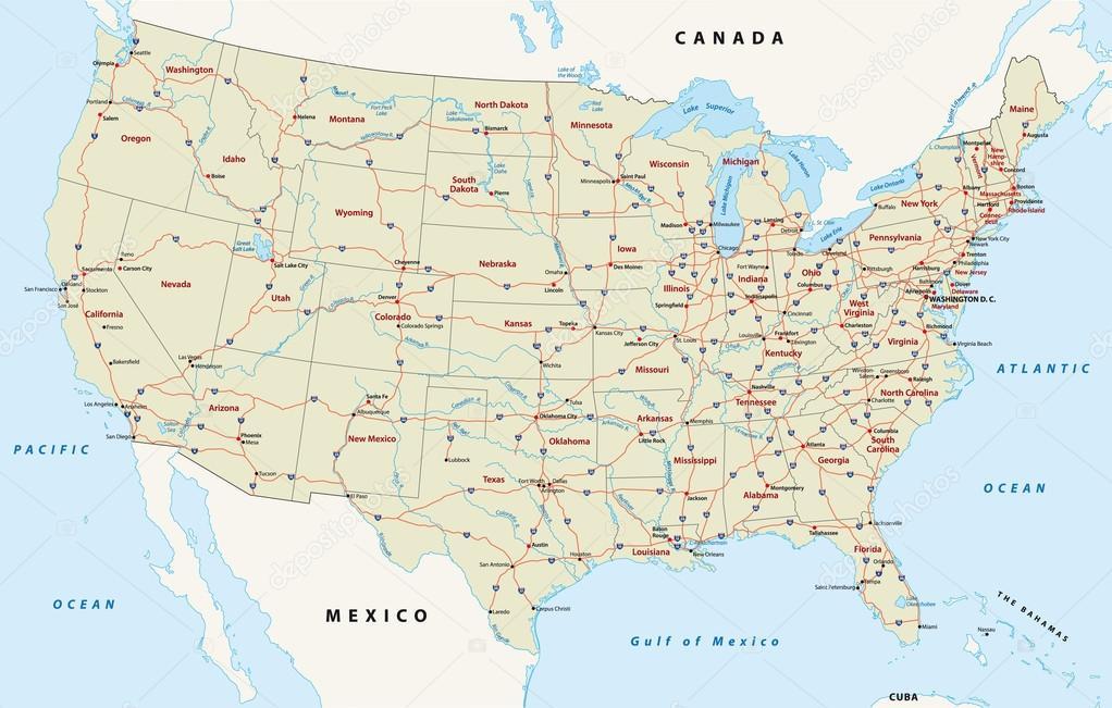 Depositphotosstockillustrationusinterstatehighwaymapjpg - Map of the us interstates