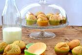 Muffins with milk — Stock fotografie