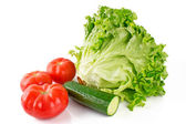 Lettuce with tomato and cucumber — ストック写真