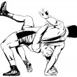 Постер, плакат: Two men wrestling