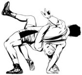 Deux hommes wrestling — Vecteur