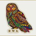 Decorative owl, cute colorful bird, patterned design, vector illustration — Stock Vector #51657749