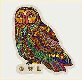 декоративная сова, милые красочные птицы, узорными дизайн, векторные иллюстрации — Cтоковый вектор