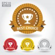 Best Choice Ribbon Sticker and Sign with Cup and Stars - Vector — Stock Vector #51796517