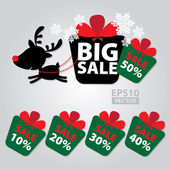 Big Sale New Year and Christmas Reindeer Sticker tags with Sale 10 - 50 percent text on Colorful Gift Box Sticker tags -  Vector — Stock Vector