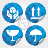 Blue Fragile Circle Stickers and Tags with Dot - Vector — Stockvector