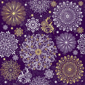 Christmas dark violet seamless pattern with white and gold vintage snowflakes (vector)
