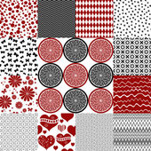 Set seamless vintage monochrome patterns