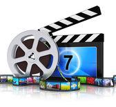 Clapper board, film reel and filmstrip