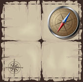 Steel detailed compass over old map Vector EPS10