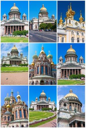 Постер, плакат: Churches in Saint Petersburg, холст на подрамнике