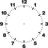 White and black vector template of clock dial