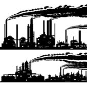 The contour of industrial buildings and structures The illustration on a white background