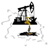 Oil pump with stopcock dripping drops of oil on a background of abstract oil slick Illustration on white background