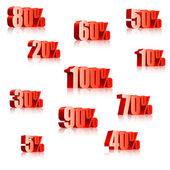 Set of three-dimensional discount numbers from 5 to 100 percents Transparent reflections