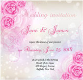 Wedding invitation with pink roses background and floral swirls