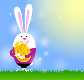 Spring background with bunny and Easter egg