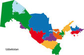 Barevná mapa Uzbekistánu
