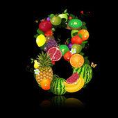 Juicy fruit in the form of number 8