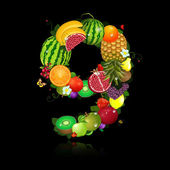 Juicy fruit in the form of number 9