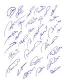 Collection of fictitious contract signatures.