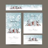 Merry christmas set postcards with cityscape background