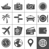 Travel and tourism icon set Simplus series Each icon is a single object (compound path)