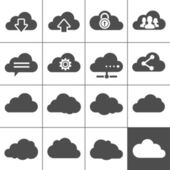 Cloud Computing Icons Collection of cloud signs Each icon is a single object (compound path)