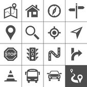 Route planning and transportation icon set Maps location and navigation icons Vector illustration Simplus series