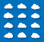 Cloud icons with long shadow Vector illustration of clouds collection