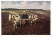 """Painting """"Leo Tolstoy at the plow"""" by Ilya Repin on postcard"""