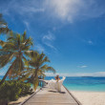 Постер, плакат: Bride on beautiful Maldivian beach