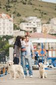 Glückliche Familie mit Hunden auf dem Kai im Sommer