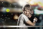 Sportsman plays tennis