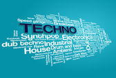 Elektronická techno hudební styly slovo mrak bubliny značky strom vektor