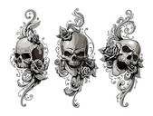 Skulls with floral patterns vector set Vector illustration