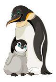 Adult Emperor Penguin with  chick