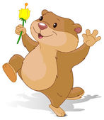 Groundhog dancing with first flower for Groundhog Day