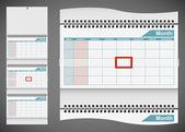 Šablona kalendáře standardní zdí izolovaných na šedé poza