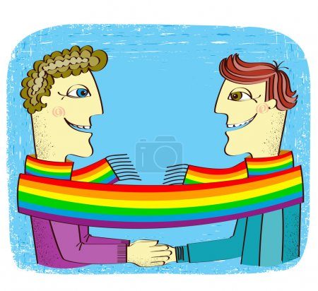 Постер, плакат: Happy gays couple with hands together Vector cartoons image, холст на подрамнике